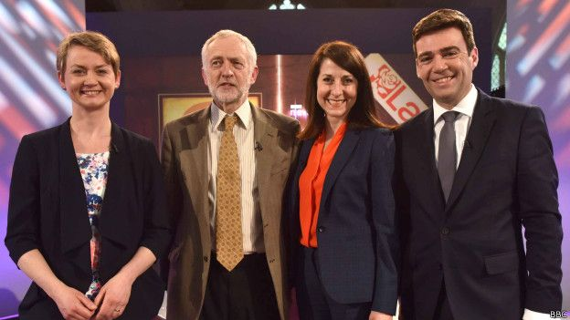 Yvette Cooper, Jeremy Corbyn, Liz Kendall y Andy Burnham