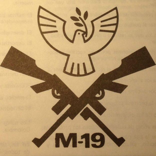 Logo de M-19 durante el proceso de paz