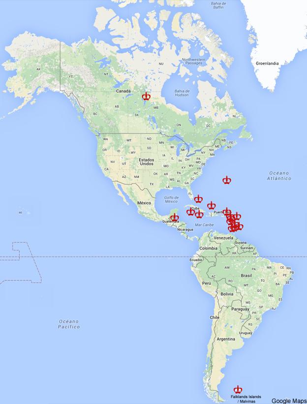 Los pases y territorios de Amrica en los que an reina Isabel II