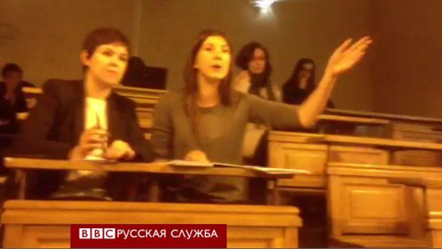 Протест в аудитории во время выступления А. Бастрыкина