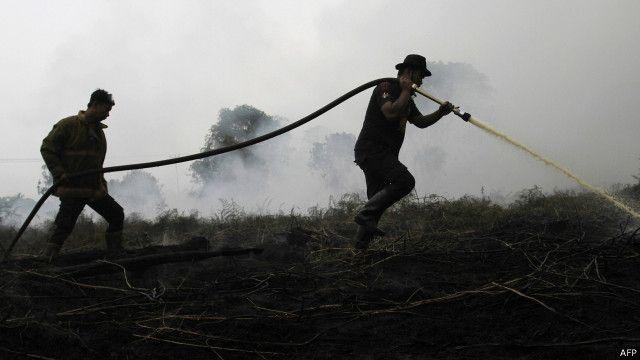 Pemadaman api di hutan Riau.