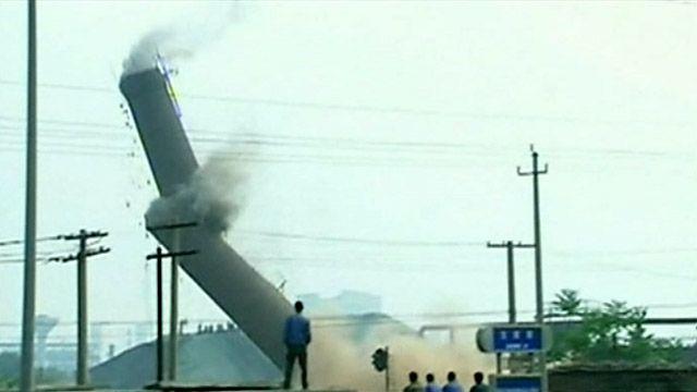 Снос трубы в городе Ханьдан
