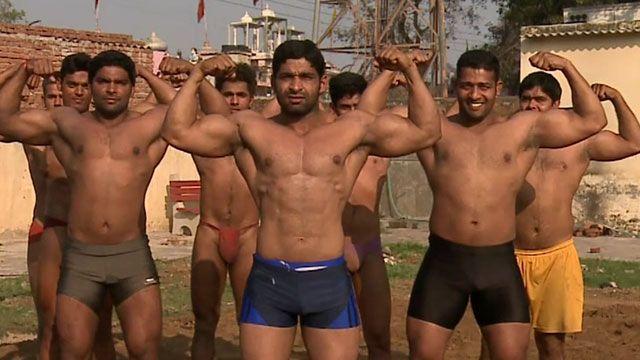 Indian wrestlers in a village near Delhi