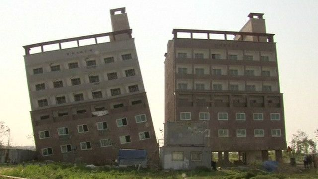 Prédio torto em Asan, na Coreia do Sul. Foto: Reuters/reprodução de vídeo