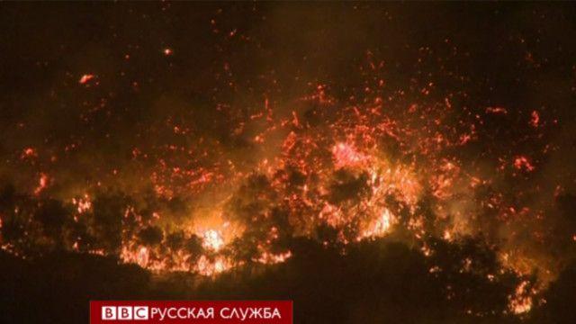 Пожары в Калифорнии: вид с самолета