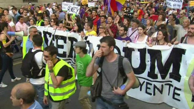 متظاهرون في اسبانيا