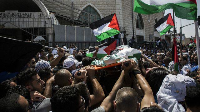فلسطین میں اغوا ہونے والے لڑکے کا جنازہ