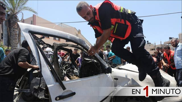 Restos de un auto en Gaza
