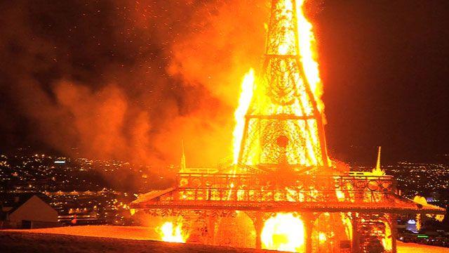 Burning symbol of peace in Northern Ireland