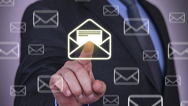 Man opens imaginary email