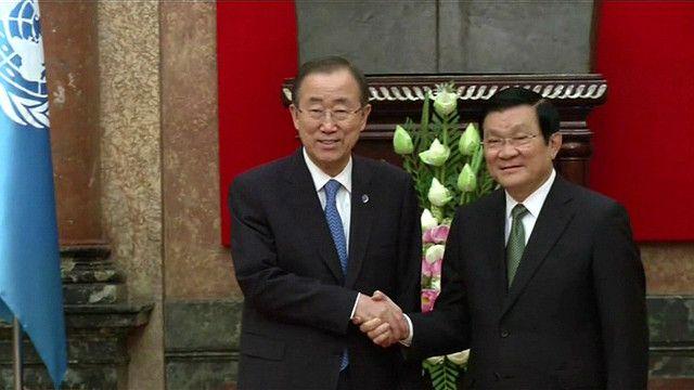 Tổng thư ký LHQ, ông Ban Ki-Moon, gặp gỡ Chủ tịch nước Việt Nam, ông Trương Tấn Sang