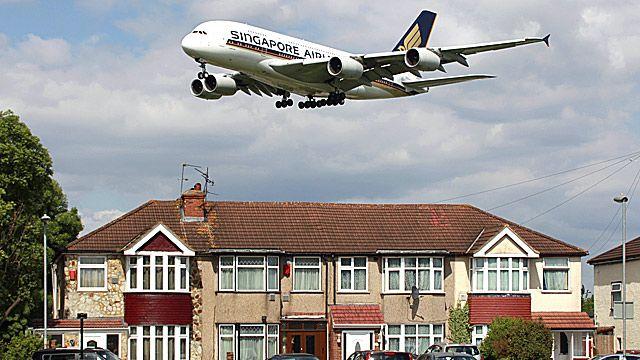 A plane landing at Heathrow