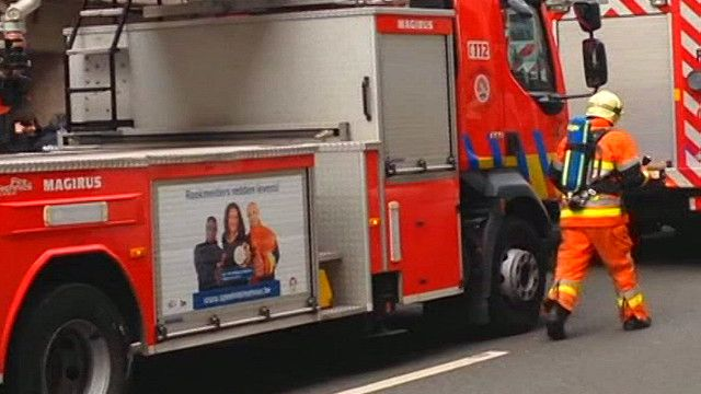 Xe cứu hỏa tại ga điện ngầm ở Brussels