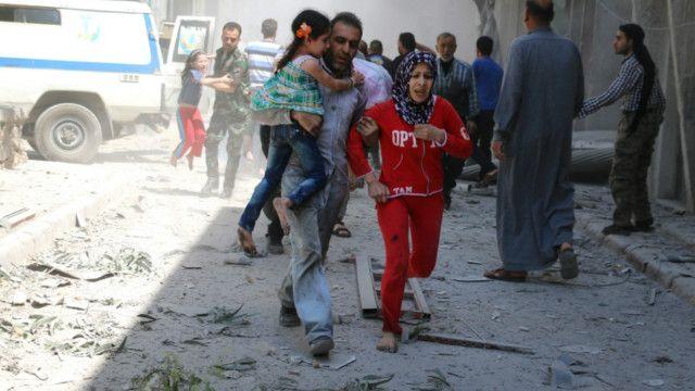 حلب میں ایک حملے کے بعد کا منظر