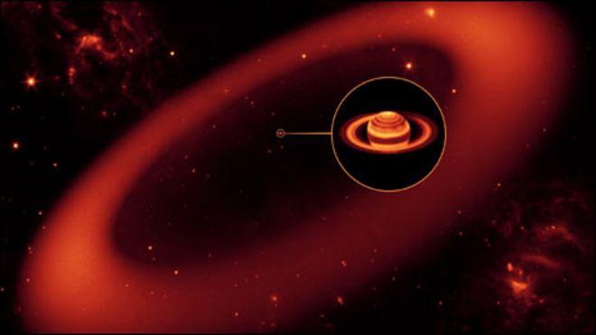 Imagem artística do anel gigante de Saturno (Foto: Nasa/Divulgação)