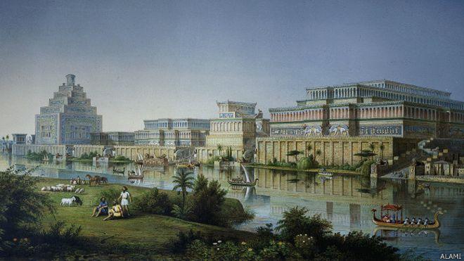 Una reconstrucción de los palacios construidos por el rey asirio Asurbanipal por Austen Henry Layard