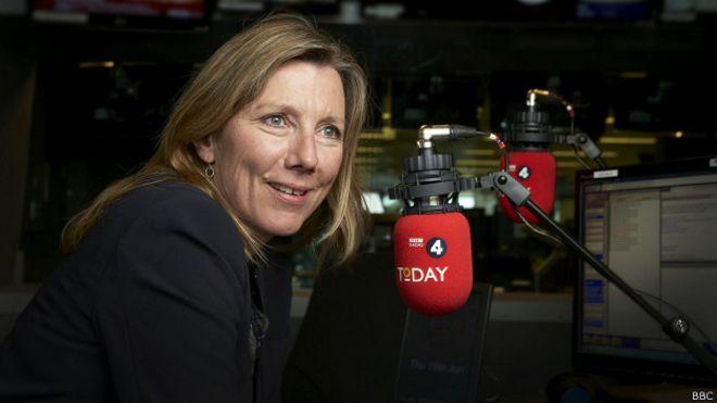 Sarah Montague, presentadora del prestigioso programa de radio Today de la BBC.